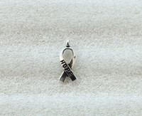 Wholesale cancer awareness ribbon charms - 140PCS Antiqued Silver Cancer Awareness HOPE Ribbon Charms A5104