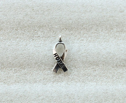 Wholesale Cancer Awareness Charms - 140PCS Antiqued Silver Cancer Awareness HOPE Ribbon Charms A5104