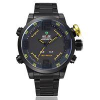 weide quartz markaları izle toptan satış-Weide marka kuvars saatı mens led dijital moda siyah askeri su geçirmez eller için saat izle hediye