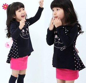 Wholesale Funny Cat Printed Dots Long Sleeve Loosen Children Girls Autumn Dress Black Pink Casual Long Shirts Dresses B1227
