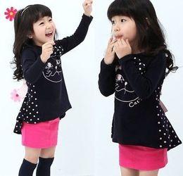 Gato tutu rosa online-Funny Cat Impreso puntos de manga larga sueltan niños niñas otoño vestido negro rosa Casual camisas largas vestidos B1227