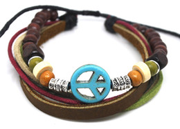 Wholesale Turquoise Bracelets Real - Wholesale 20PCs lot Vintage Handmade 100% Real Leather Bracelet Hemp with green turquoise peace sign Adjustable Rope Jewelry A0379