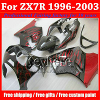 Wholesale black red zx7r fairing for sale - Group buy Freeship red flame in black Kawasaki fairing ZX R ZX7R Ninja popular body work fairings kit ZX R with gifts hp66