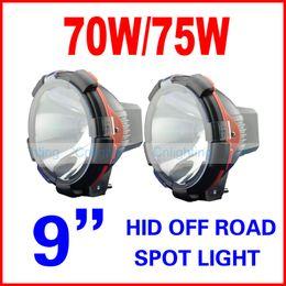 "Wholesale Xenon Inch Fog Lights - 2pcs 9"" inch 70W 75W HID Xenon Driving Light Spot   Flood Beam SUV ATV Off-Road 4WD 4x4 9-36V 3200lm IP67 H3 Jeep Truck Fog Lamp High Power"