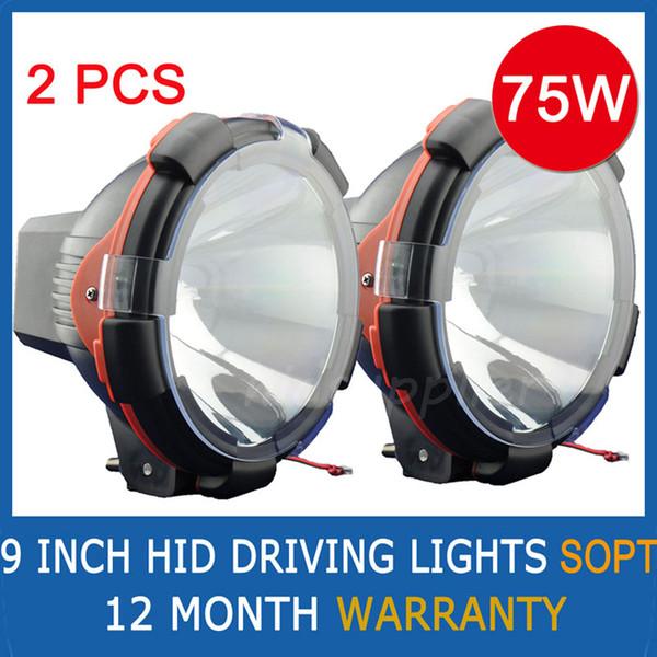 "top popular 2pcs 9"" 35W 55W 75W HID Xenon Driving Light Spot   Flood Beam SUV ATV Off-Road 4WD 4x4 9-36V 3200lm IP67 H3 Jeep Truck Fog Lamp High Power 2019"