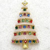 Wholesale Enamel Christmas Tree - Wholesale colorful Crystal Rhinestone Enameling Christmas tree Pin Brooch Christmas gifts C820