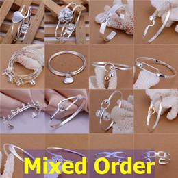 "Wholesale Multi Charm Bracelets - Mixed Order 20pcs lot 8"" 925 Sterling Silver Plated Multi Styles Fashion Charms Bangle Bracelets #BA132"