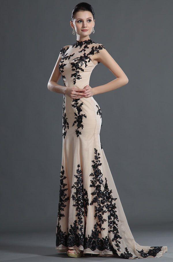 Lente 2020 nobele hoge hals naakt prom jurken cap sleeves een lijn vloer lengte zwart kant geappliceerd avondjurken