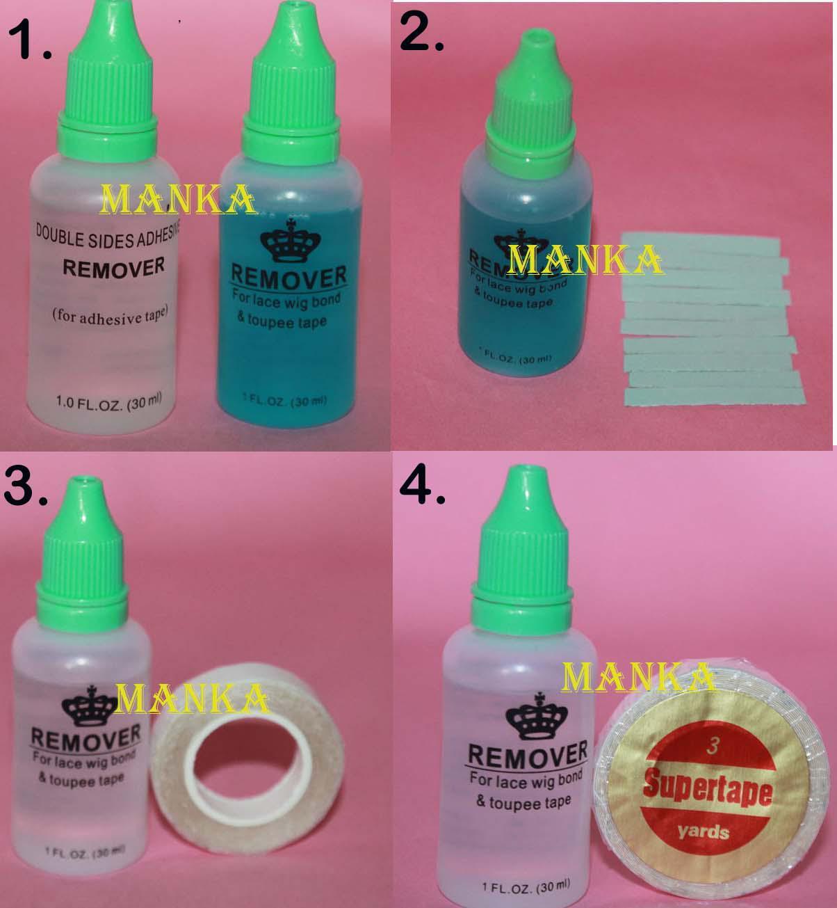 Klebeband 1cm * 3m und 1 Flasche 30ml Doppelseiten Klebeband Kleber / Klebstoffentferner für Band Haarverlängerungen / PU Haut Schuss