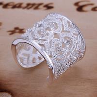 ingrosso anelli in pietra corallo-Vendita calda 925 gioielli anello d'argento moda cavità gemma donne anello gioielli d'argento di alta qualità 925 vendita 10pcs