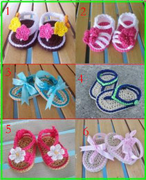 Wholesale Cribs Sales - 6Styles!Pretty baby crochet sandals,Baby Crib Shoes,Photo prop toddler shoes,First walker, sale,cheap ,Baptism Shoes baby wear! 8pairs