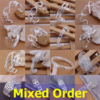 "Wholesale Silver Plated Filigree - Mixed Order 16pcs lot 8"" 925 Sterling Silver Plated Macrame Filigree Styles Wirework Cuff Bangle Bracelets #BA133"