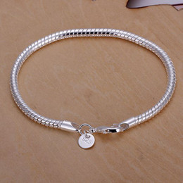 Wholesale Cheap Wholesale Charms - best Christmas 925 silver plated gift jewelry 3mm 8inch fashion jewelry charm snake chain bracelet Lowest cheap price