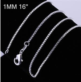 Envío libre, venta al por mayor 925 Collar de cadena de caja de plata 1mm Collar de plata, 925 collar de cadena esterlina