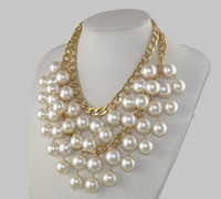 Wholesale Caroline Broke Girls - New Arrivals 1pLayers Metalic Necklace with Whtie Artificial Big Pearls Design Broke Girls Caroline