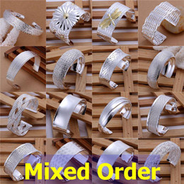 "Wholesale Sterling Silver Adjustable Bangles - Mixed Order 20pcs lot 8"" 925 Sterling Silver Plated Big Wide Band Exaggerated Adjustable Cuff Bangle Bracelets #BA139"