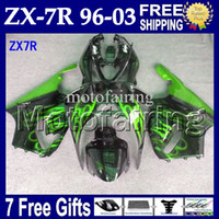 7gifts For Black green KAWASAKI NINJA 96- 03 ZX7R 1996 1997 1...