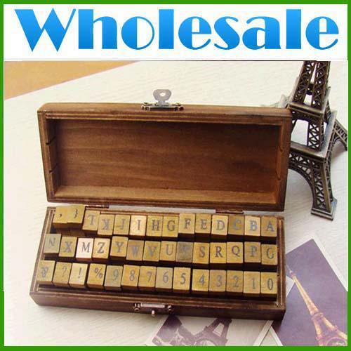 Commercio all'ingrosso * CREATIVEBAR * 42 pz / set Creativo lettere e numeri timbro regalo / timbro in legno / scatola di legno / decorativo francobolli Lots48 FEDEX / DHL FRE