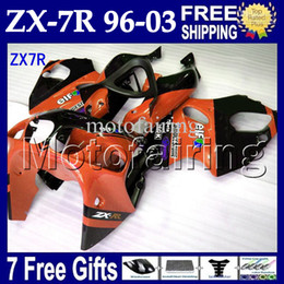 Wholesale 1997 Zx7r Fairings - 7giftsFor KAWASAKI NINJA ZX7R 96-03 Orange black ZX-7R MF#1217 ZX 7R HOT Orange black 1996 1997 1998 1999 2000 2001 2002 2003 Fairing Body