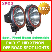 "Wholesale Wholesale Hid Conversion Kits - 2pcs 7"" 70W 75W HID Xenon Driving Light Off-Road SUV ATV 4WD 4x4 Spot Flood Beam 9-32V H3 6000K IP67 Jeep Truck Fog Lamp Super bright Power"