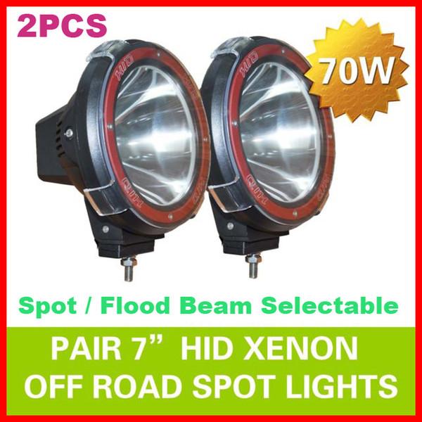 "best selling 2pcs 7"" 70W 75W HID Xenon Driving Light Off-Road SUV ATV 4WD 4x4 Spot Flood Beam 9-32V H3 6000K IP67 Jeep Truck Fog Lamp Super bright Power"
