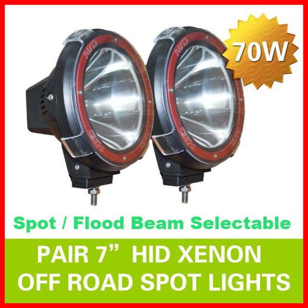 "EMS 2pcs 7"" 70W 75W HID Xenon Driving Light Off-Road SUV ATV 4WD 4x4 Spot Flood Beam 9-32V H3 6000K IP67 Jeep Truck Lamp Super bright Power"