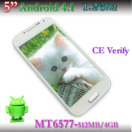 "Wholesale Dual Sim Android Mtk6577 - S4 I9500 SIV 5.0"" MTK6577 dual core i9500 Android 4.1 960*540 512MB 4G single SIM card + GPS free shipping"