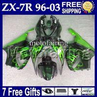 96 carenado negro al por mayor-7 gifts para verde negro KAWASAKI NINJA 96-03 ZX7R 96 97 98 99 00 01 02 03 1996 1997 2003 MF # 1440 ZX-7R Llamas verdes negro ZX 7R Fairing Kit