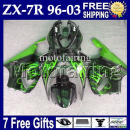 Wholesale 96 Kawasaki Ninja - 7gifts For Black green KAWASAKI NINJA 96-03 ZX7R 96 97 98 99 00 01 02 03 1996 1997 2003 MF#1440 ZX-7R Green flames black ZX 7R Fairing Kit