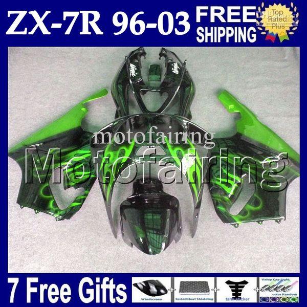 7 gifts para verde negro KAWASAKI NINJA 96-03 ZX7R 96 97 98 99 00 01 02 03 1996 1997 2003 MF # 1440 ZX-7R Llamas verdes negro ZX 7R Fairing Kit