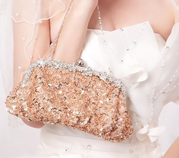 2015年在庫銀色の水晶スパンコール重ビーズアンティークの結婚式のブライダルハンドバッグイブニングパーティーハンドバッグクラッチ