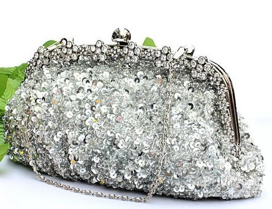 2015 auf lager silber kristall pailletten schwere perlen antike hochzeit braut handtasche abend party handtasche kupplung