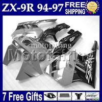 Wholesale 1996 Zx9r Custom Fairings - 7gifts Grey white black For KAWASAKI 94-97 NINJA ZX9R 94 95 96 97 ZX-9R MF#1537 1994 1995 1996 1997 ZX 9R 9 R grey Custom Bodywork Fairing