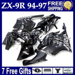 Wholesale 94 Zx9r Fairing Kit - 7gifts Custom For KAWASAKI NINJA ZX9R NEW Black 94-97 ZX-9R 94 95 96 97 MF#1504 body ZX 9R 9 R Gloss black 1994 1995 1996 1997 Fairing Kit