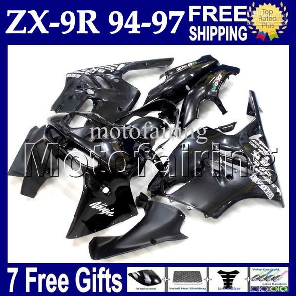 7 cambios personalizados para KAWASAKI NINJA ZX9R NUEVO Negro 94-97 ZX-9R 94 95 96 97 MF # 1504 cuerpo ZX 9R 9 R Negro brillante 1994 1995 1996 1997 Kit de carenado