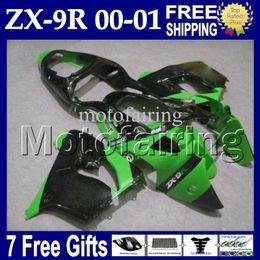 Wholesale Zx9r Full Fairing Kit - 7gifts For KAWASAKI NINJA 00 01 ZX9R HOT Green black MF#1747 High Quality ZX-9R 9 R ZX 9R 00-01 Green black 2000 2001 Full Fairings Kits