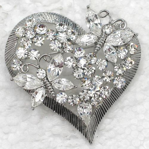 12pcs/lot Wholesale Crystal Rhinestone Love Heart-shaped Butterfly Brooches Fashion Costume Pin Brooch Valentine's day jewelry C062