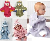 neugeborene unisex bademäntel großhandel-Großhandel Baby Badetücher Kostenloser Versand Tier Kinder Bademantel Newborn Decken Badetuch Mit Kapuze Baby Bademantel D214