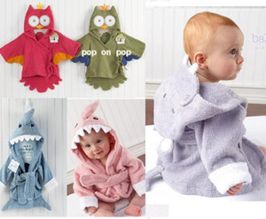 Wholesale Baby Bath Towels Free Shipping Animal Children Bath Robe Newborn Blankets Bathing Towel Hooded Baby's Bathrobe D214