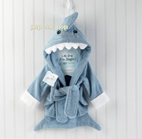 Wholesale Samples Children - Sample order Free Shipping Shark Baby Bath Towels Children Bath Robe Newborn Blankets Bathing Towel Hooded Baby's Bathrobe D214