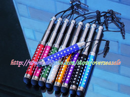Wholesale Plug Phone Bling - Bling Metal screen Capacitive Touch Stylus Pen anti Dust Plug for Smart Mobile Phone Samsung S3 S4 HTC Iphone 4 4S 5 5G Tablet 10pcs 50pcs