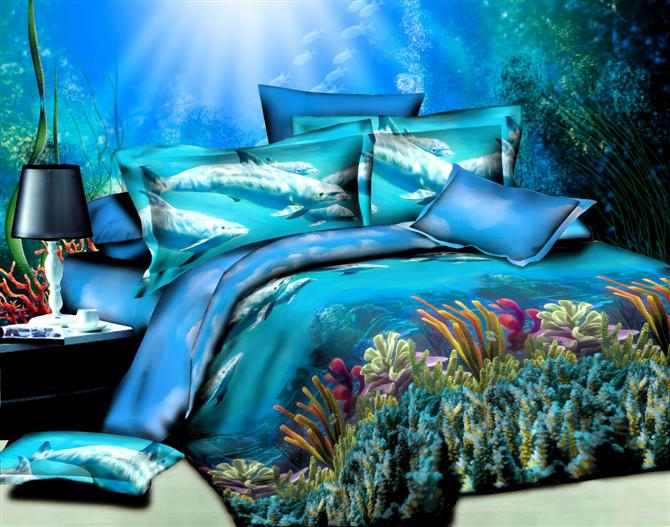 Blue Ocean Dolphin 3d Oil Painting Bedding Set Queen Size