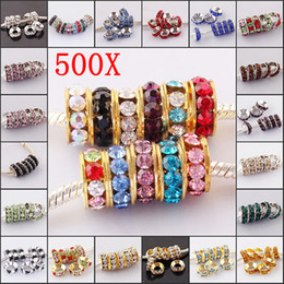 Wholesale Big Hole Gold Beads - 500pcs lot Gold   Silver Plated with Multicolor Crystal Rhinestone Rondelle Spacer Loose Beads Big Hole European Beads Fit Bracelet Findings