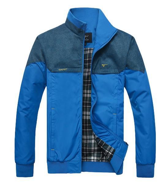Новая осень Зимняя мужская стоячим воротником куртки Тонкий Куртки Верхняя одежда
