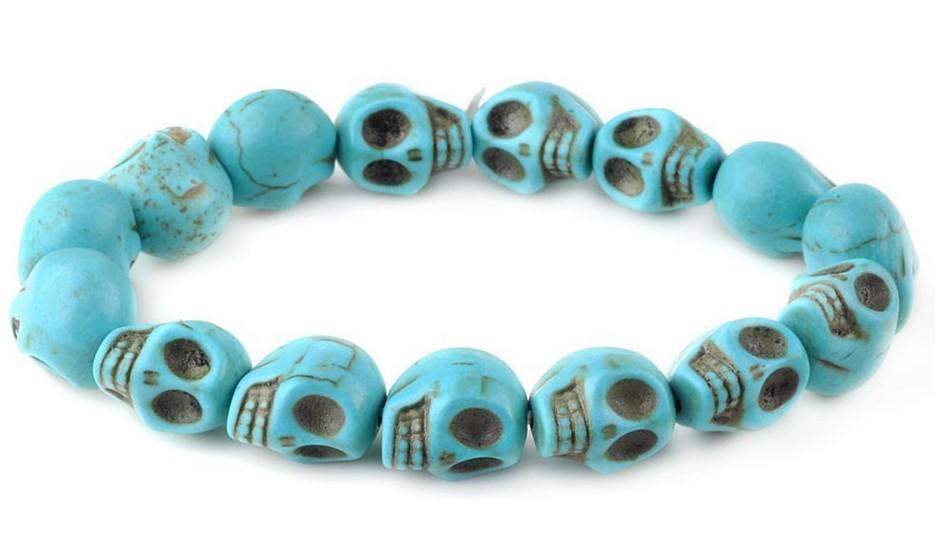 Livraison Gratuite Bracelet crâne Turquoise Skull Strin Strand Bracelet multicolore Bracelet Stretch Bracelet Nice Bracelets Grossistes 8Couleurs