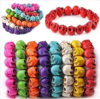 Wholesale Multicolor Turquoise Skull Strand Bracelets - free shipping skull bracelet Turquoise Skull Strand Multicolor Bracelet Stretch bracelet Nice bracelets wholesales 8colors
