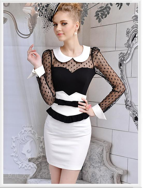 Fashion Women long sleeve Sexy Lace Girls Lovely Doll Collar Ladies Hubble-bubble Sleeve Shirt