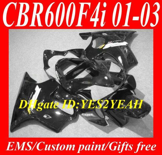 Kit de carenado para HONDA CBR600F4I 01 02 03 CBR 600 F4I CBR600 F4I CBR600 2001 2002 2003 ABS negro negro Carenados + 7dios HY34