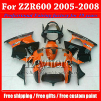 kit de carenagens para kawasaki zzr venda por atacado-Frete grátis laranja preto carenagem Kawasaki Ninja ZZR 600 05 06 07 08 ABS corpo de carenagem de alta qualidade kits ZZR600 2005-2008 com 7 presentes Ph7