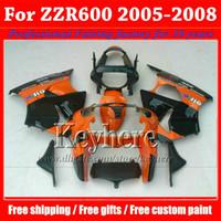 ingrosso corredo kit per kawasaki zzr-Spedizione gratuita orange black Kawasaki carenatura Ninja ZZR 600 05 06 07 08 ABS carene di alta qualità kit carrozzeria ZZR600 2005-2008 con 7 regali Ph7